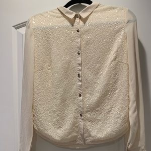 Lucy Love Sequin Button  Up Blouse